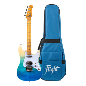 Flight Pathfinder Solid Body Transparent Blue Elektrické Ukulele